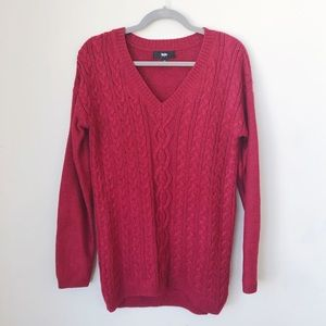 Mossimo Red V-Neck Cable Knit Sweater Dress